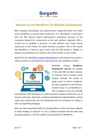 Reasons to Use WordPress for Website Development