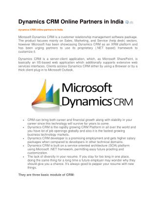 Dynamics CRM Online Partners in India