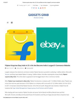 Flipkart Acquires Ebay India In $1.4 Bn And Become India's Largest E-Commerce Website