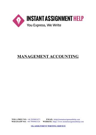 Management Accounting Sample - Instant Assignment Help