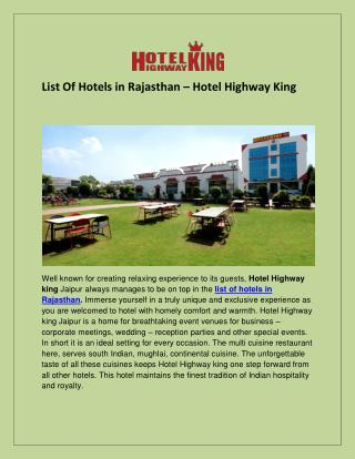 List Of Hotels In Rajasthan - Hotel Highway King