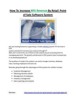 How to increase 40% revenue by retail point of sale software system