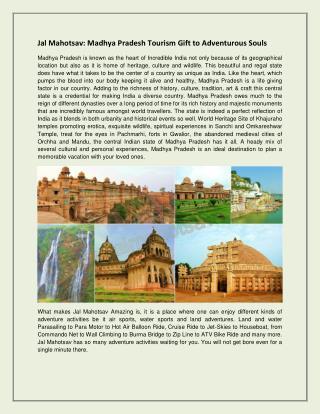 Jal Mahotsav Madhya Pradesh Tourism Gift to Adventurous Souls