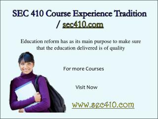 SEC 410 Course Experience Tradition / sec410.com