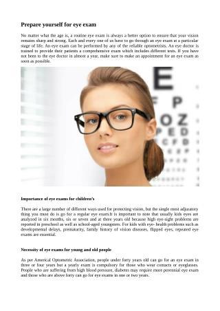 Prepare Yourself for Eye Exam