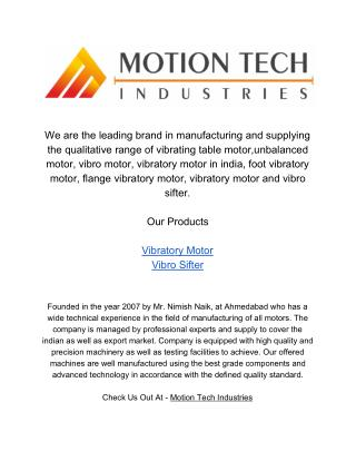 Motion Tech Industries - Vibratory Motors - Vibrator Motor Suppliers, Traders & Manufacturers