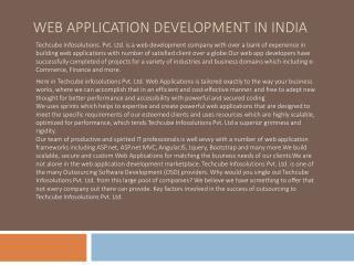 Techcube Infosolutions Pvt Ltd Web Application Development Company India, web development services Pune, India.