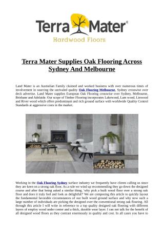 Terra Mater Supplies Oak Flooring Across Sydney And Melbourne