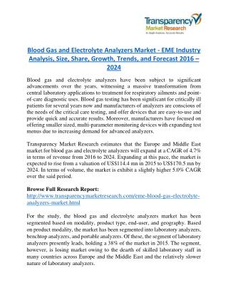 Blood Gas and Electrolyte Analyzers Market will rise to US$ 170.5 Million by 2024