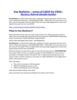 Fan Marketer Review – (Truth) of Fan Marketer and Bonus