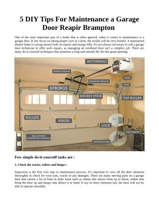 5 DIY Tips For Maintenance a Garage Door Repair Brampton