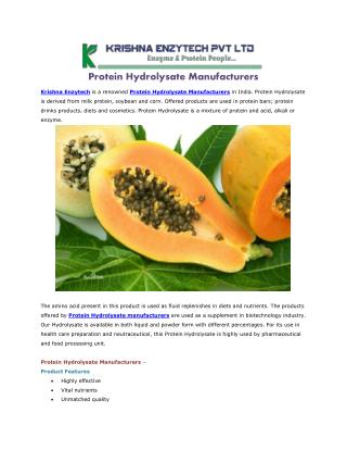 Protein Hydrolysate Manufacturers