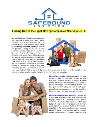 Moving Companies Near Jupiter FL