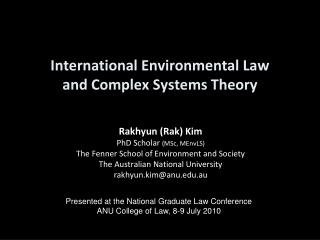 International Environmental Law  and Complex Systems Theory
