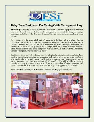 Dairy Farm Equipment For Making Cattle Management Easy
