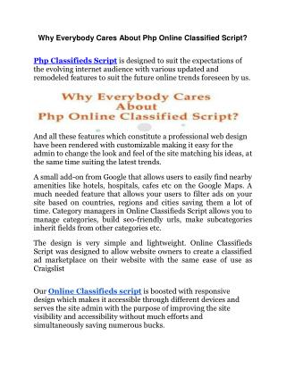 Why Everybody Cares About Php Online Classified Script?