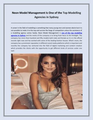 Neon Model Management Is One of the Top Modelling Agencies in Sydney