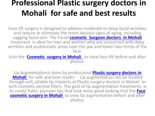 Professional Plastic surgery doctors in Mohali  for safe and best results