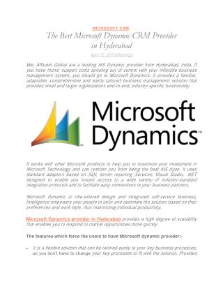 The Best Microsoft Dynamic CRM Provider in Hyderabad