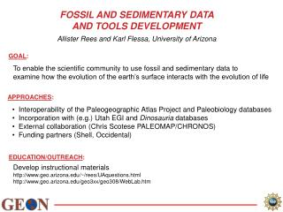 FOSSIL AND SEDIMENTARY DATA  AND TOOLS DEVELOPMENT