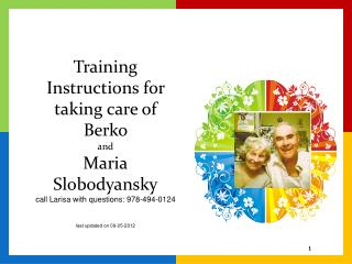 Berko & Maria's Personal Care Training Instructions