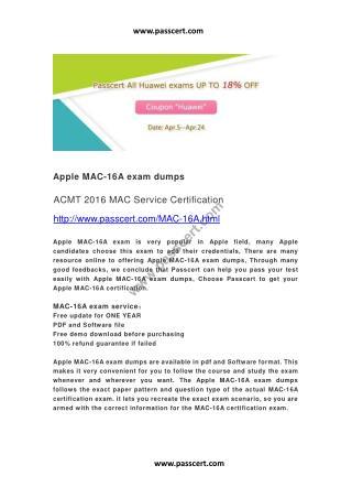 Apple MAC-16A exam dumps