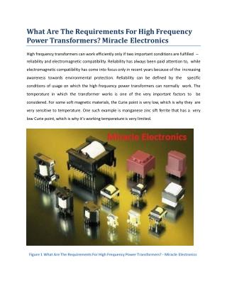 What Are The Requirements For High Frequency Power Transformers?