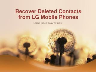 How to Recover Deleted Contacts from LG Phones