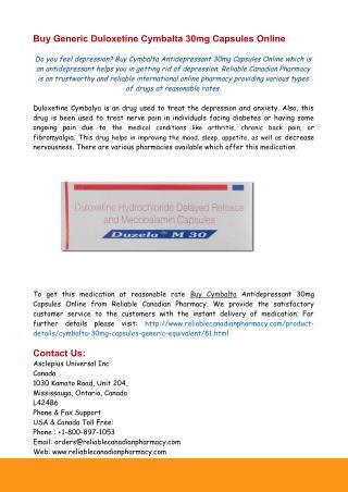 Buy Generic Duloxetine Cymbalta 30mg Capsules Online