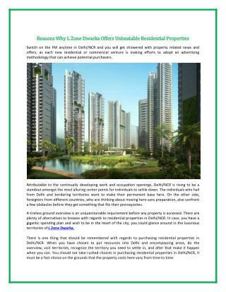 Reasons Why L Zone Dwarka Offers Unbeatable Residential Properties