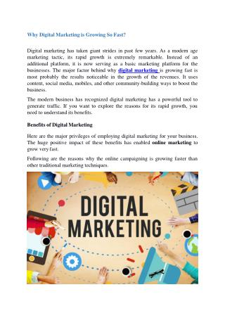 Why Digital Marketing is Growing So Fast?