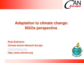 Adaptation to climate change:  NGOs perspective