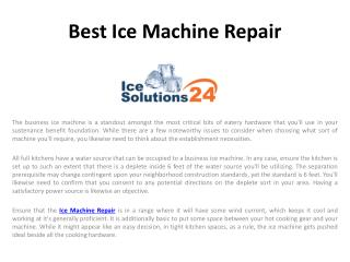 Best Ice Machine Repair