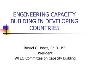 ENGINEERING CAPACITY BUILDING IN DEVELOPING COUNTRIES