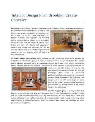 Interior design firm Brooklyn