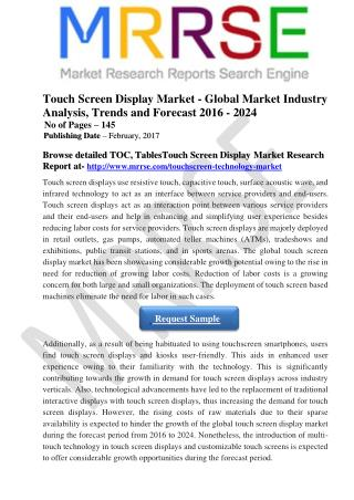 The Global Touch Screen Display Market Has Been Showcasing Considerable Growth