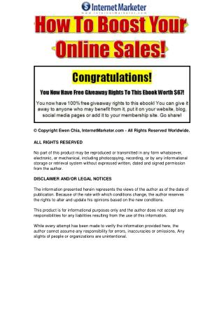 How To Boost Your Online Sales.