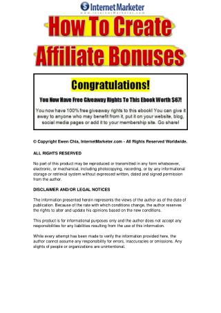 How To Create Affiliate Bonuses.