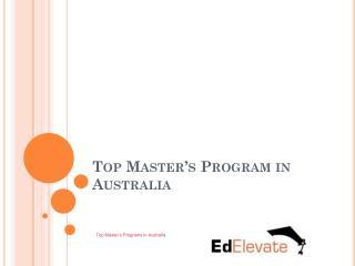 Top Master's Programs in Australia