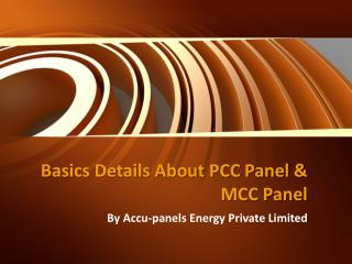 Basics Details About PCC Panel & MCC Panel