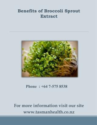 tasmanhealth.co.nz | Broccoli Sprout Extract