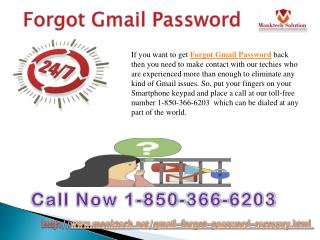 Have you Forgotten Gmail Password 1-850-366-6203?