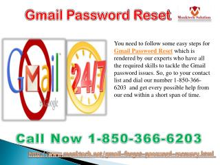 Are you facing issues while Gmail Password Resetting 1-850-366-6203?