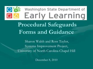 Procedural Safeguards Forms and Guidance