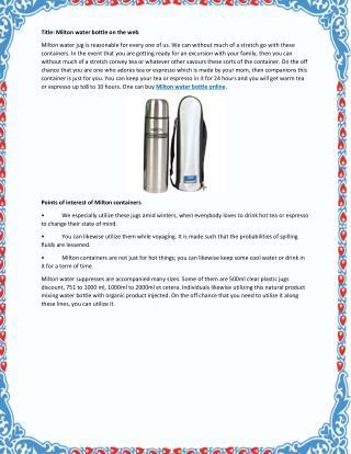Best Milton Water Bottle Online