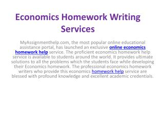 Economics Homework Writing Services