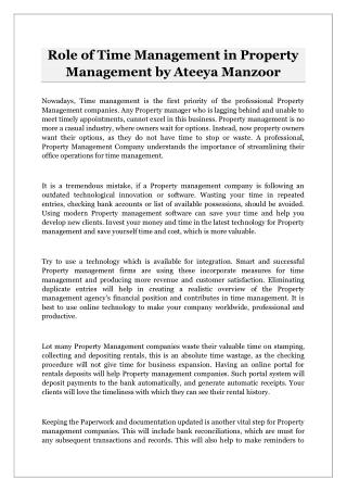 Role of Time Management in Property Management by Ateeya Manzoor