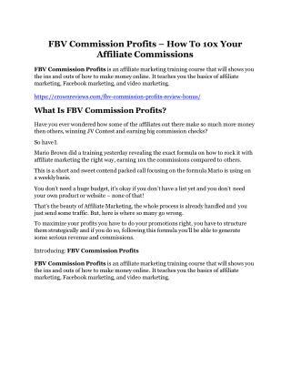 FBV Commission Profits Review -(GIANT) bonus & discount
