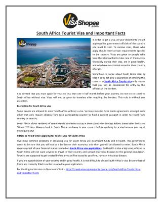 South Africa Tourist Visa and Important Facts