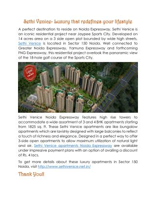 Get Heavenly Homes at Sethi Venice Noida Expressway